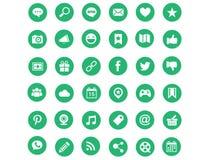 Πράσινα σύγχρονα κοινωνικά εικονίδια μέσων Στοκ Εικόνες