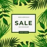 Πράσινα τροπικά φύλλα με το πλαίσιο έκπτωσης 15% σχέδιο προτύπων εμβλημάτων πώλησης Μεγάλη ειδική προσφορά πώλησης Πράσινη ειδική απεικόνιση αποθεμάτων