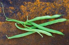 Πράσινα φασόλια σε ένα υπόβαθρο του σκουριασμένου σιδήρου Στοκ Φωτογραφίες