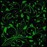 Πράσινα φύλλα με τους αφηρημένους στροβίλους ελεύθερη απεικόνιση δικαιώματος