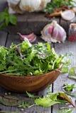 Πράσινα φύλλα σαλάτας σε ένα ξύλινο κύπελλο Στοκ εικόνα με δικαίωμα ελεύθερης χρήσης