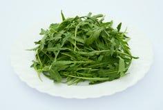 Πράσινα φύλλα του arugula σε ένα άσπρο πιάτο, Στοκ εικόνες με δικαίωμα ελεύθερης χρήσης
