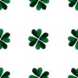 Πράσινα φύλλα τριφυλλιού τέσσερις-φύλλων Watercolor ανασκόπηση ημέρα Πάτρικ ST φιλανθρωπία Χρωματισμένη χέρι απεικόνιση Στοκ Εικόνες