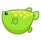 Πράσινα χαριτωμένα κινούμενα σχέδια ψαριών Στοκ Εικόνες