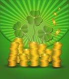 πράσινα χρήματα Πάτρικ s ST ημέρας νομισμάτων Στοκ εικόνες με δικαίωμα ελεύθερης χρήσης