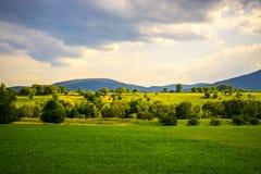 Πράσινα χλόη και βουνά Στοκ εικόνα με δικαίωμα ελεύθερης χρήσης