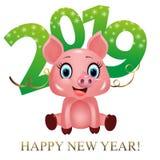 Πράσινα ψηφία με snowflakes 2019 και χαριτωμένος χοίρος, zodiac σύμβολο στο κινεζικό ημερολόγιο του έτους του 2019 που απομονώνετ απεικόνιση αποθεμάτων