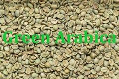 Πράσινα Arabica φασόλια καφέ Στοκ φωτογραφία με δικαίωμα ελεύθερης χρήσης