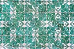 Πράσινα azulejos - κεραμίδια από τη Λισσαβώνα, Πορτογαλία Στοκ εικόνες με δικαίωμα ελεύθερης χρήσης