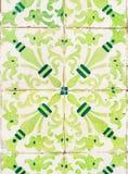 Πράσινα azulejos, παλαιά κεραμίδια στην παλαιά πόλη της Λισσαβώνας, Πορτογαλία Στοκ φωτογραφίες με δικαίωμα ελεύθερης χρήσης