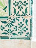 Πράσινα azulejos, παλαιά κεραμίδια στην παλαιά πόλη της Λισσαβώνας, Πορτογαλία Στοκ εικόνες με δικαίωμα ελεύθερης χρήσης