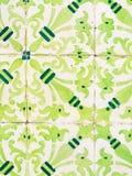 Πράσινα azulejos, παλαιά κεραμίδια στην παλαιά πόλη της Λισσαβώνας, Πορτογαλία Στοκ Φωτογραφία