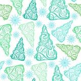 Πράσινα fir-trees και μπλε snowflakes σχέδιο Στοκ Εικόνα