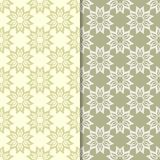 Πράσινα floral σχέδια ελιών άνευ ραφής σύνολο προτύπων Στοκ Εικόνες