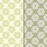 Πράσινα floral υπόβαθρα ελιών άνευ ραφής σύνολο προτύπων Στοκ Φωτογραφία
