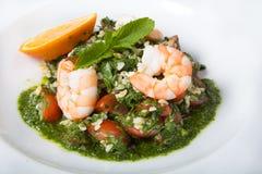 πράσινες γαρίδες σαλάτας Στοκ εικόνες με δικαίωμα ελεύθερης χρήσης