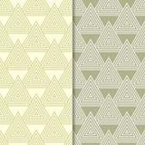 Πράσινες γεωμετρικές διακοσμήσεις ελιών άνευ ραφής σύνολο προτύπων Στοκ Φωτογραφία