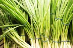 Πράσινες δέσμες κρεμμυδιών στην αγορά Στοκ Εικόνες