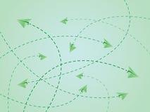Πράσινες διαδρομές πτήσης χρώματος του αεροπλάνου ή των αεροσκαφών εγγράφου με το πέρασμα των γραμμών ελεύθερη απεικόνιση δικαιώματος