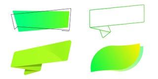 Πράσινες ετικέτες καθορισμένες Πρότυπο για τα βιο προϊόντα, τις πωλήσεις, τους ιστοχώρους και τις ετικέτες Κορδέλλα, φύλλο, υπερε Διανυσματική απεικόνιση