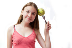 πράσινες ευτυχείς όμορφες νεολαίες κοριτσιών μήλων Στοκ Φωτογραφία