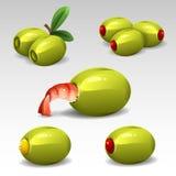 Πράσινες ελιές με τις γαρίδες διανυσματική απεικόνιση