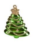 Πράσινες διακοσμήσεις Χριστουγέννων έλατου στο λευκό που απομονώνεται Στοκ φωτογραφία με δικαίωμα ελεύθερης χρήσης