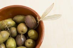 Πράσινες ισπανικές ελιές Στοκ Εικόνες