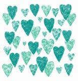 Πράσινες καρδιές στο άσπρο υπόβαθρο διανυσματική απεικόνιση