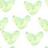 Πράσινες καρδιές σχεδίων σχεδίου άνευ ραφής Απεικόνιση αποθεμάτων