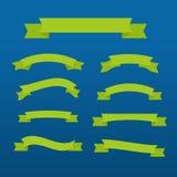 Πράσινες κορδέλλες καθορισμένες διανυσματική απεικόνιση