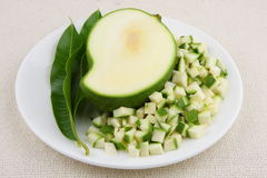 Πράσινες μικρές φέτες μάγκο στοκ εικόνες