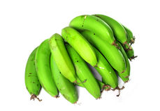 Πράσινες μπανάνες πέρα από το λευκό Στοκ εικόνες με δικαίωμα ελεύθερης χρήσης