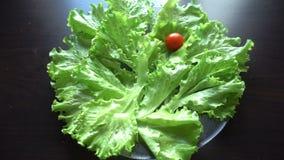 πράσινες ντομάτες σαλάτας απόθεμα βίντεο