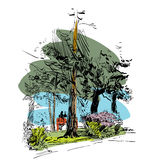 Πράσινες πάρκο και θέση για μια ημερομηνία Στοκ Εικόνες