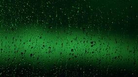 Πράσινες πτώσεις βροχής στο παράθυρο απόθεμα βίντεο