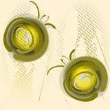 Πράσινες σφαίρες στο λαμπιρίζοντας ημίτονο υπόβαθρο Αφηρημένη απεικόνιση, διανυσματική απεικόνιση για το σχέδιο λογότυπων, αφίσα ελεύθερη απεικόνιση δικαιώματος