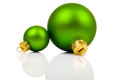 Πράσινες σφαίρες Χριστουγέννων Στοκ Εικόνες