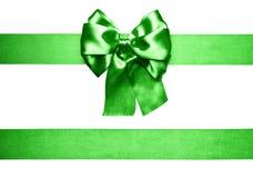 πράσινες τόξο και κορδέλλα από το μετάξι Στοκ Εικόνα