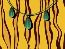 Πράσινες χάντρες σε ένα ριγωτό κίτρινο καφετί διανυσματικό υπόβαθρο Στοκ Εικόνες