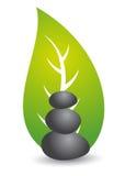 πράσινες leaf spa πέτρες Στοκ φωτογραφία με δικαίωμα ελεύθερης χρήσης