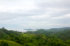 Πράσινη άποψη βουνών στην ομίχλη στοκ εικόνες