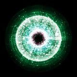 Πράσινη έκρηξη τεχνολογίας στο μαύρο υπόβαθρο απεικόνιση αποθεμάτων