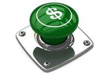 Πράσινη έννοια κουμπιών δολαρίων Στοκ Εικόνες