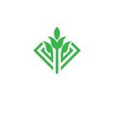 Πράσινη έννοια λογότυπων φύλλων και νεαρών βλαστών διανυσματική Στοκ εικόνα με δικαίωμα ελεύθερης χρήσης