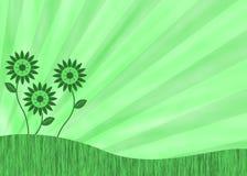 Πράσινη αναδρομική ανασκόπηση λουλουδιών ελεύθερη απεικόνιση δικαιώματος