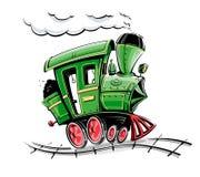 Πράσινη αναδρομική ατμομηχανή κινούμενων σχεδίων Στοκ Εικόνα