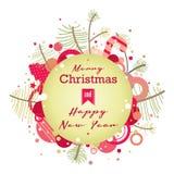 Πράσινη αναδρομική κάρτα Χριστουγέννων Στοκ Εικόνα