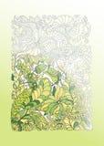 Πράσινη απεικόνιση άνοιξη doodle, μισός χρωματισμός απεικόνιση αποθεμάτων