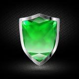 Πράσινη ασπίδα κρυστάλλου στο χρώμιο Στοκ φωτογραφία με δικαίωμα ελεύθερης χρήσης